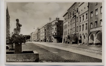 AK Foto Mühldorf am Inn Unterer Stadtplatz mit Brunnen 1937