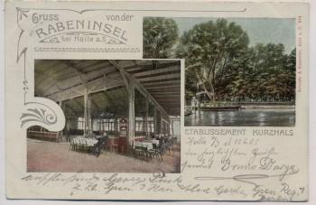 AK Gruss von der Rabeninsel bei Halle an der Saale Etablissement Kurzhals 1905