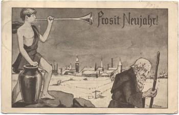 AK Prosit Neujahr Mann mit Posaune Dittmer 1912