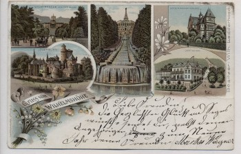 VERKAUFT !!!   Litho Gruss von Wilhelmshöhe Kassel Cafe Mulang Hotel Ridinger Schloss Löwenburg ... 1898