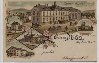 Litho Gruss aus Mosel Hammer's Gasthof Post Brauerei Bahnhof bei Zwickau 1901 RAR