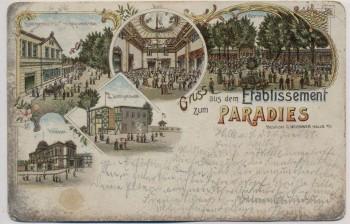 Litho Halle an der Saale Gruss aus dem Etablissement zum Paradies 1898