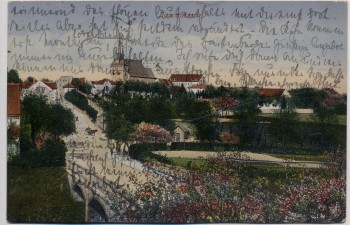 AK Lommatzsch Ortsansicht mit Brücke und Kirche Inflation 1922