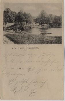 AK Gruß aus Bodendorf Ortsansicht mit Teich bei Haldensleben 1902 RAR