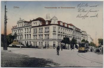 AK Zittau Frauentorstraße mit Bismarckdenkmal Gasthof Stadt Görlitz Straßenbahn 1917