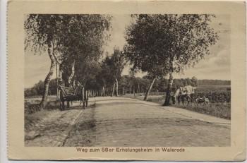 AK Walsrode Weg zum 58 er Erholungsheim Pferd mit Karren 1918