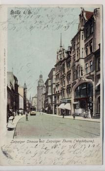 AK Halle an der Saale Leipziger Straße mit Leipziger Turm 1902