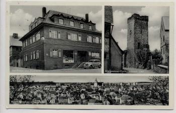 AK Niederbrechen am Taunus Ortsansicht Gasthaus zur Eintracht Ringmauer-Turm 1955