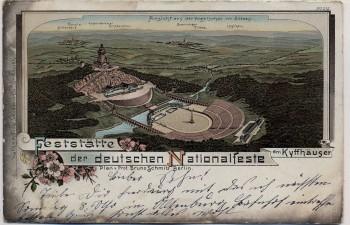 Litho Feststätte der deutschen Nationalfeste am Kyffhäuser Vogelschau bei Steinthaleben 1900 RAR