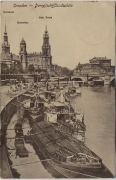 VERKAUFT !!!   AK Dresden Dampfschifflandeplatz Schloß Kirche Schiffe 1925