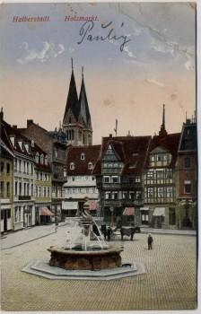 AK Halberstadt Holzmarkt mit Brunnen 1914
