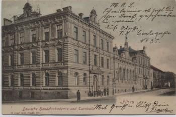 AK Pilsen Plzeň Deutsche Handelsakademie und Turnhalle Böhmen Tschechien 1903