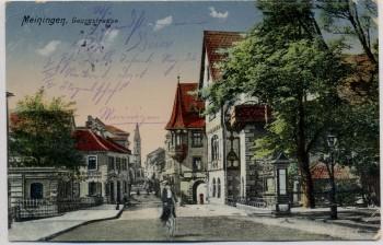 AK Meiningen Georgstraße mit Radfahrerin Feldpost 1915