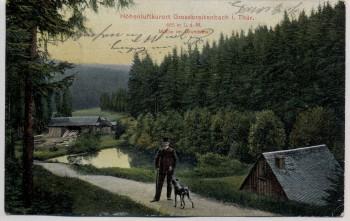 AK Großbreitenbach in Thüringen Mühle im Grundstal Mann mit Hund 1910