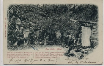 AK Königstein im Taunus Stoltze-Plätzi Wanderer Gedicht 1900