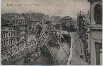 AK Elberfeld Wuppertal Schwebebahn Döppersberg mit Theater 1903