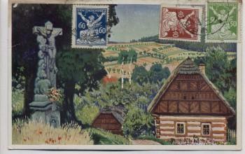 Künstler-AK Záhoří u Semil Sahorsch Chaloupka v Českém Ráji Böhmen Tschechien 1924