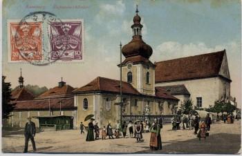 AK Rumburg Rumburk Kapuzinerkloster Kloster viele Menschen Böhmen Tschechien 1926