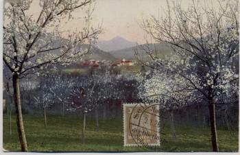 Künstler-AK Ortsansicht Baumblüte Stempel Seifhennersdorf 1926