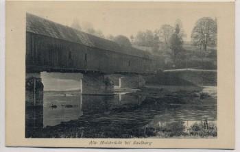 AK Alte Holzbrücke bei Saalburg Ebersdorf Stiftung für Heimatschutz 1913