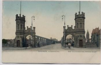 AK Bremen Kaiserbrücke mit Menschen 1910