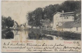 AK Erlangen Kanalpartie bei der Windmühle 1903