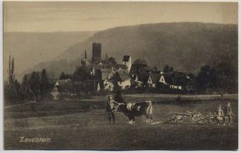 AK Bad Teinach Zavelstein Ortsansicht mit Bauer und Kuh 1910