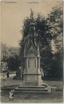AK Aschersleben Kriegerdenkmal mit Kindern 1910