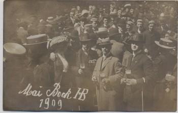 VERKAUFT !!!   AK Foto München HB Männer Bier trinkend Mai Bock Hofbräuhaus 1909