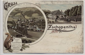 Litho Gruss aus Zschopenthal mit Gasthof zum Eichhörnchen bei Grünhainichen 1901 RAR