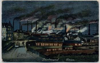 AK Dortmund Union-Werke bei Nacht 1908