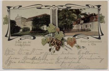AK Czernosek Groß Tschernosek Velké Žernoseky Gruss aus der Schlosskellerei Böhmen Tschechien 1905 RAR