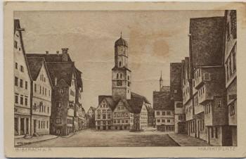 Künstler-AK Biberach an der Riß Marktplatz 1921