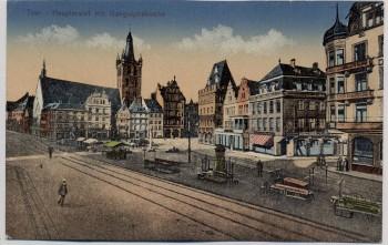 AK Trier Hauptmarkt mit Gangolphskirche 1920