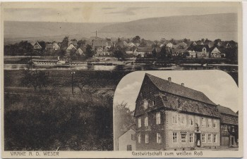 AK Vaake an der Weser Ortsansicht mit Gastwirtschaft zum weißen Roß Karl Ude bei Reinhardshagen 1931 RAR