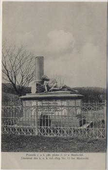 AK Máslojedy Masloved bei Hradec Králové Schlachtfeld bei Königgrätz 1866 Denkmal des k. u. k. Inf.-Reg. No. 12 Tschechien 1910