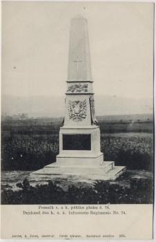AK Hradec Králové Schlachtfeld bei Königgrätz 1866 Denkmal des k. u. k. Inf.-Reg. Nr. 74 Tschechien 1910