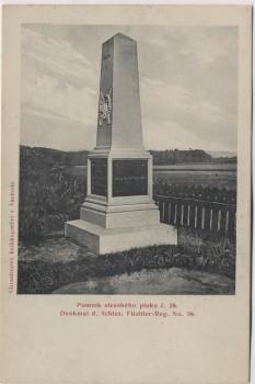 AK Hradec Králové Schlachtfeld bei Königgrätz 1866 Denkmal d. Schles. Füsilier-Reg. No. 38 Tschechien 1910 RAR