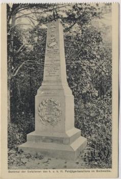 AK Hradec Králové Schlachtfeld bei Königgrätz 1866 Denkmal des k. u. k. 11. Feldjägerbataillon im Swibwald Tschechien 1914