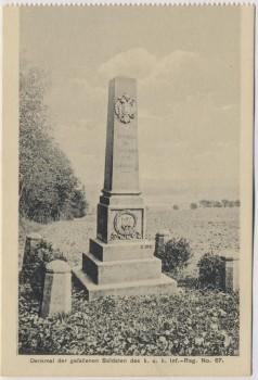 AK Hradec Králové Schlachtfeld bei Königgrätz 1866 Denkmal des k. u. k. Inf.-Reg. No. 67 Tschechien 1914