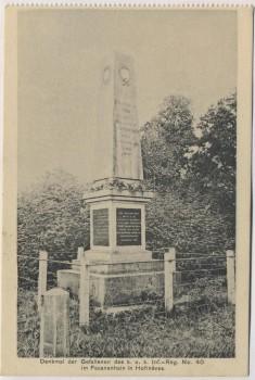 AK Hořiněves bei Hradec Králové Schlachtfeld bei Königgrätz 1866 Denkmal des k. u. k. Inf.-Reg. No. 40 im Fasanenhain Tschechien 1914