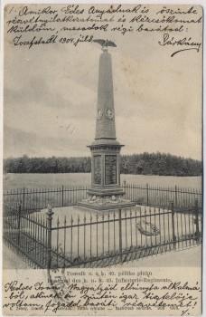 AK Bojiště u Hradec Králové Schlachtfeld bei Königgrätz 1866 Denkmal des k. u. k. Inf.-Reg. No. 49 Tschechien 1910