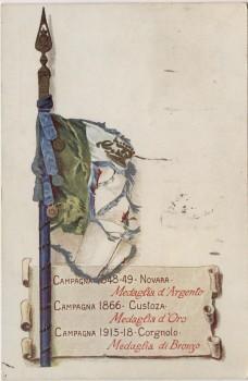 AK Custoza Patriotika Schlacht bei Custozza 1866 Fahne Italien 1936