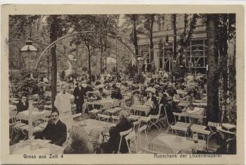AK Berlin Ausschank der Löwenbrauerei Gruss aus Zelt 4 viele Menschen 1912
