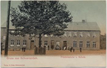AK Gruss aus Schwarzenbek in Schleswig-Holstein Friedenseiche mit Schule 1910 RAR