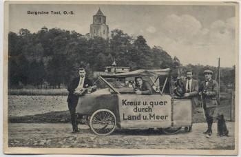 VERKAUFT !!!   AK Burgruine Tost Toszek in Schlesien Musikgruppe mit Fahrzeug Kr. Gleiwitz Polen 1920 RAR