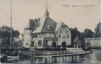 AK Elbing Elbląg Bootshaus Nautilus Ostpreußen Polen 1921
