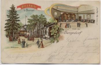 AK Hamburg Bergedorf Billthal Gartenpartie Saal 1905
