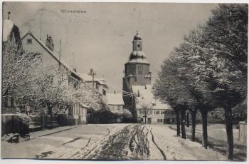 AK Winnenden Ortsansicht im Winter mit Kirche 1917