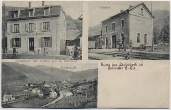 AK Gruss aus Lauterbach bei Gebweiler Guebwiller Bahnhof Restauration Totalansicht Haut-Rhin Elsass Frankreich 1913 RAR